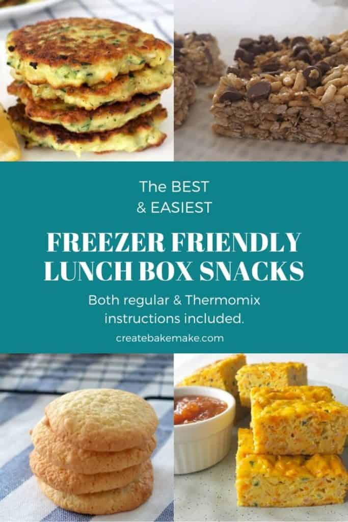 Collage of freezer friendly lunchbox snack images