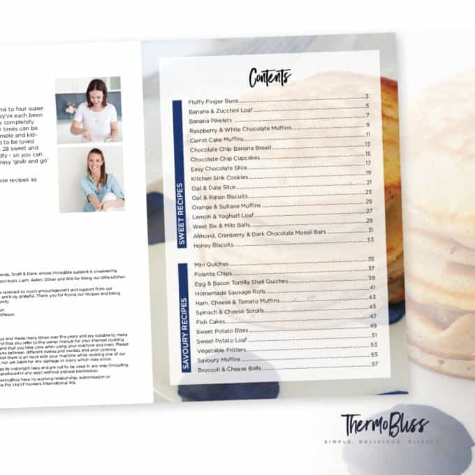 ThermoBliss Kids Snacks Book COntents Page