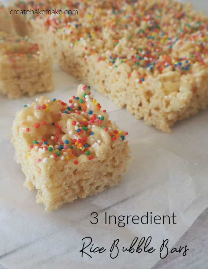 Three Ingredient Easy Rice Bubble Bars Recipe.