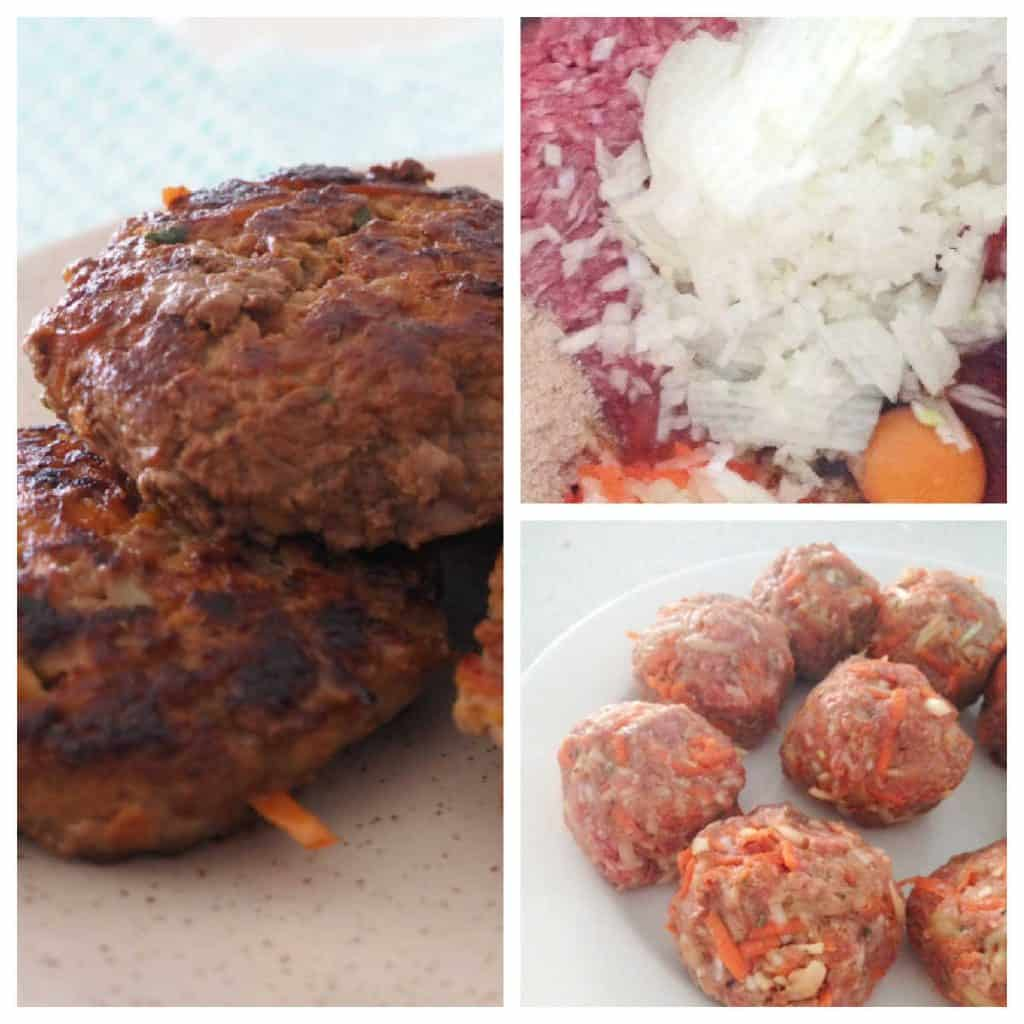 collage of steps for making rissoles