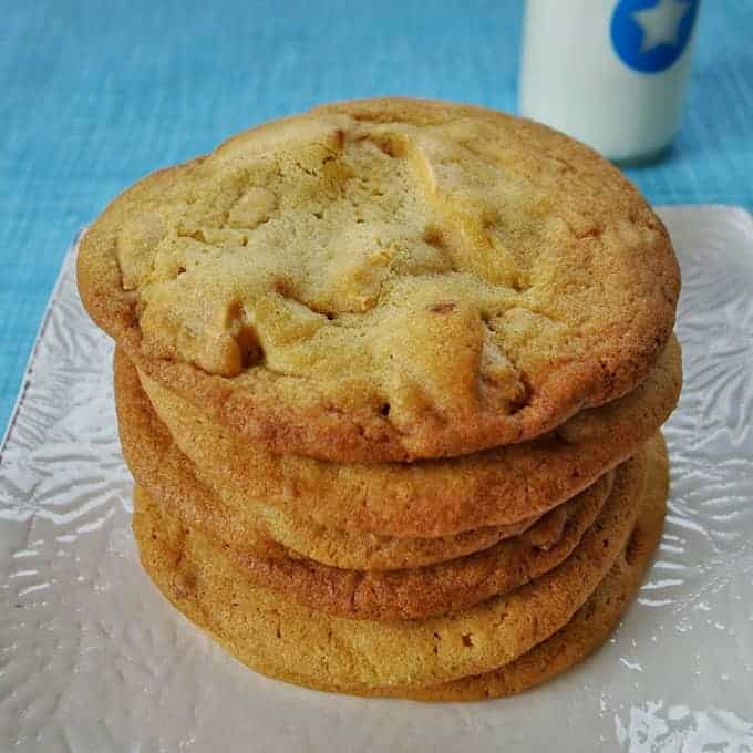 A plate of Caramilk Chunk Cookies.