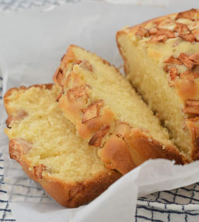 Apple and Cinnamon Loaf Slices Side View