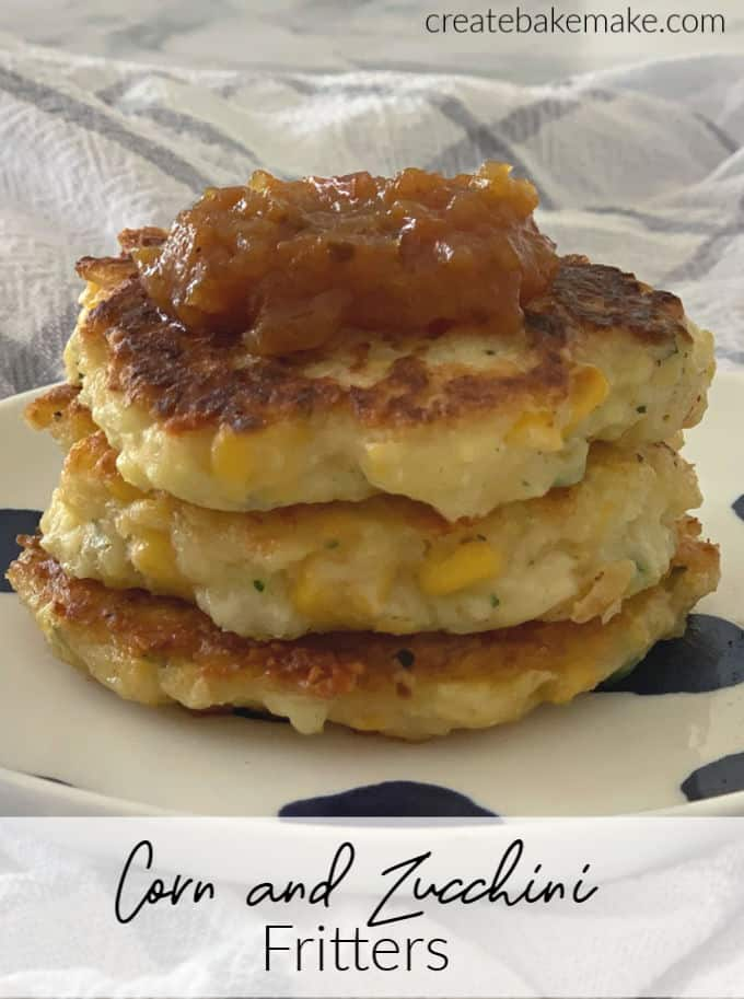 Corn and Zucchini Fritter Stack Side View