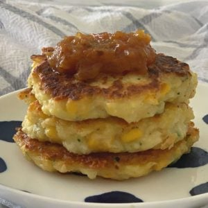 Easy Corn and Zucchini Fritters Recipe Side View