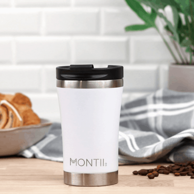 Side View of MontiiCo Regular Coffee Cup in white