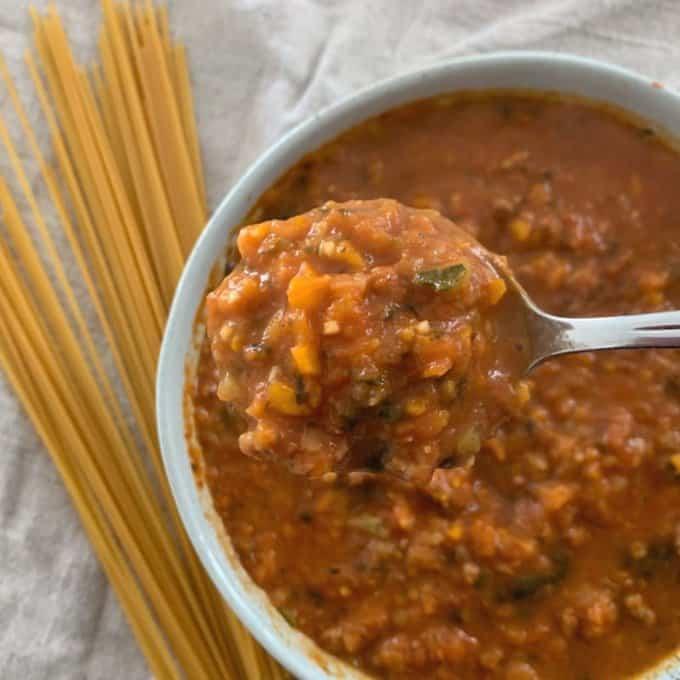 Veggie packed Bolognese sauce