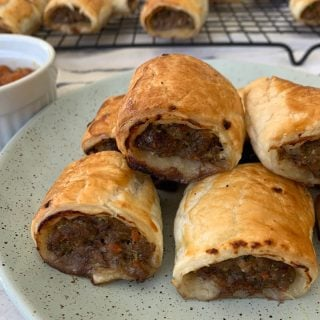 Close Up View of Beef and Vegetable Sausage Rolls