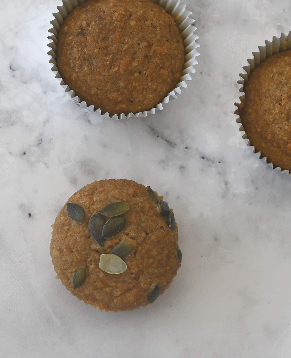 overhead view of Carrot Banana and Cinnamon Muffins