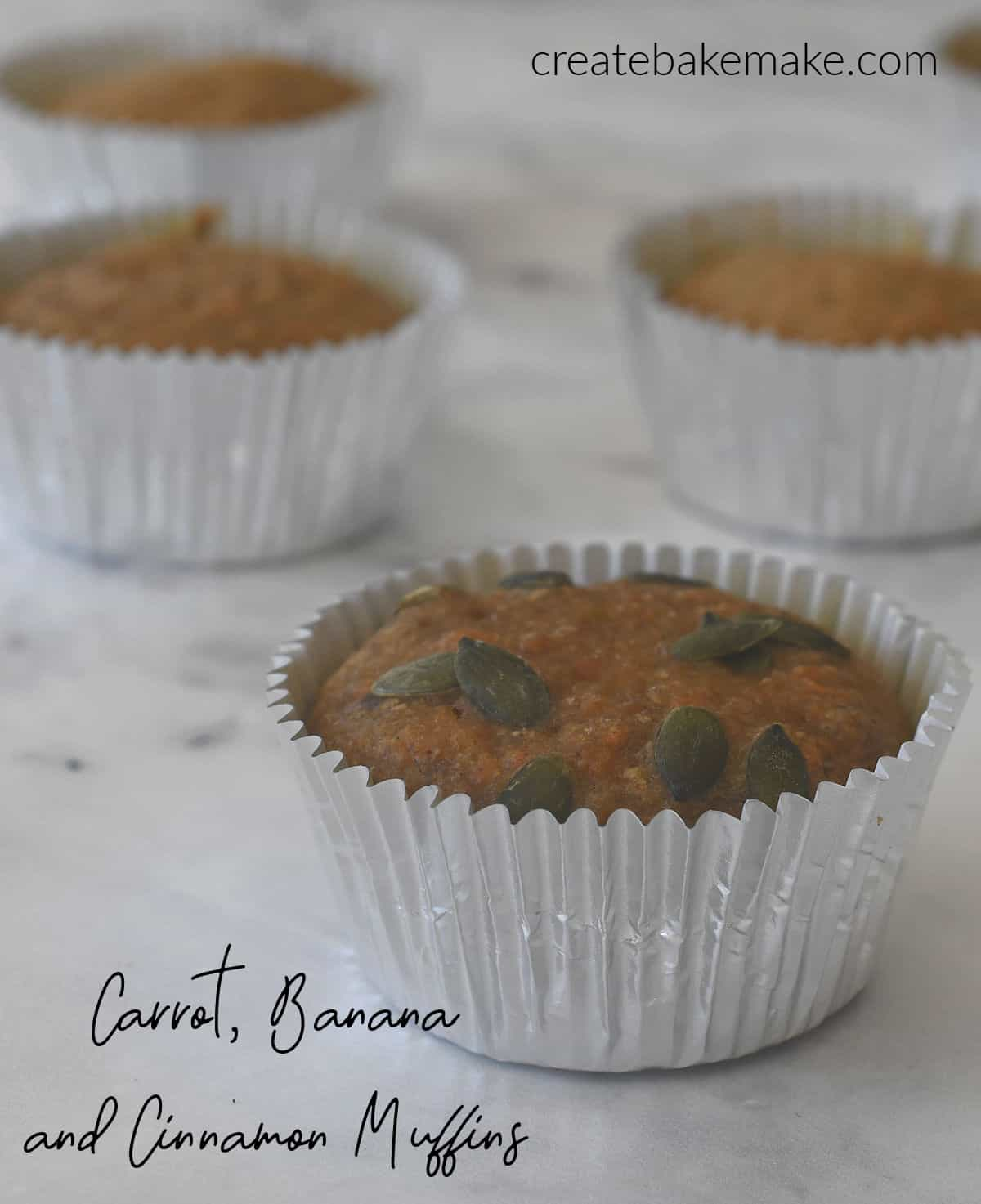 Side view of Carrot Banana and Cinnamon Muffins