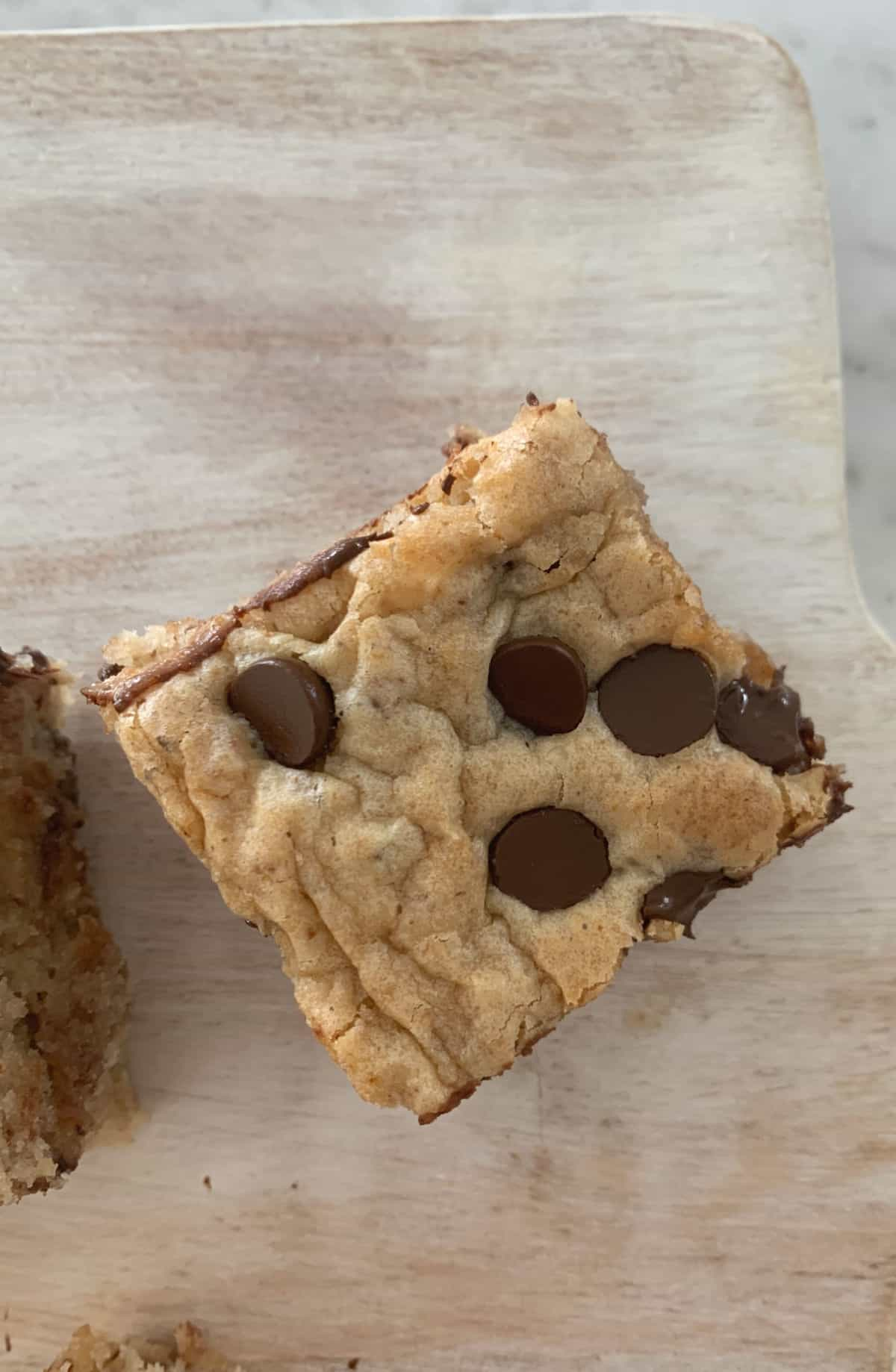 Top view of choc chip banana blondie