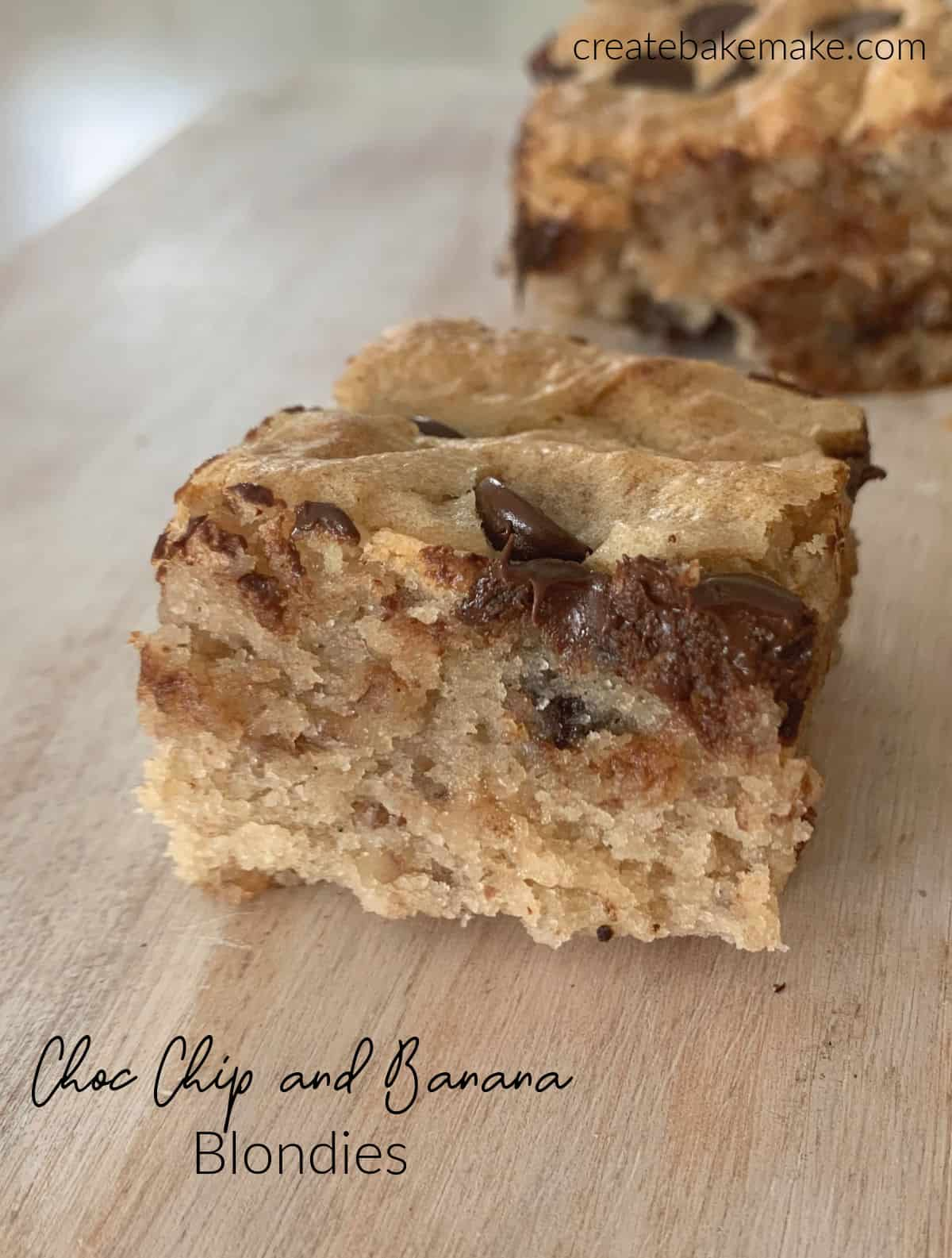 Side view of choc chip banana blondies