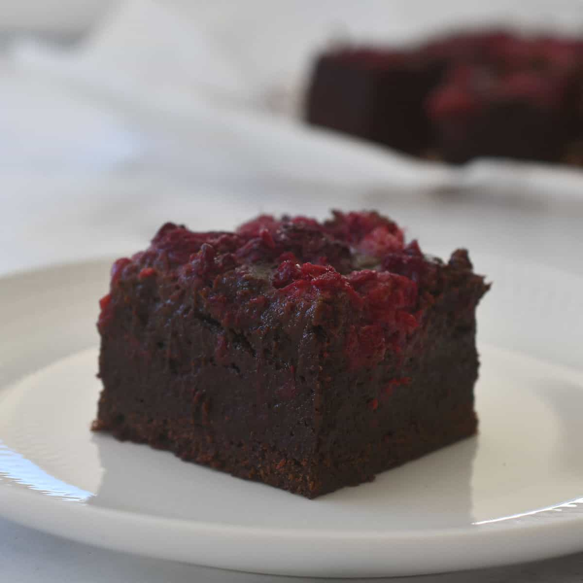 raspberry spiked brownies side view