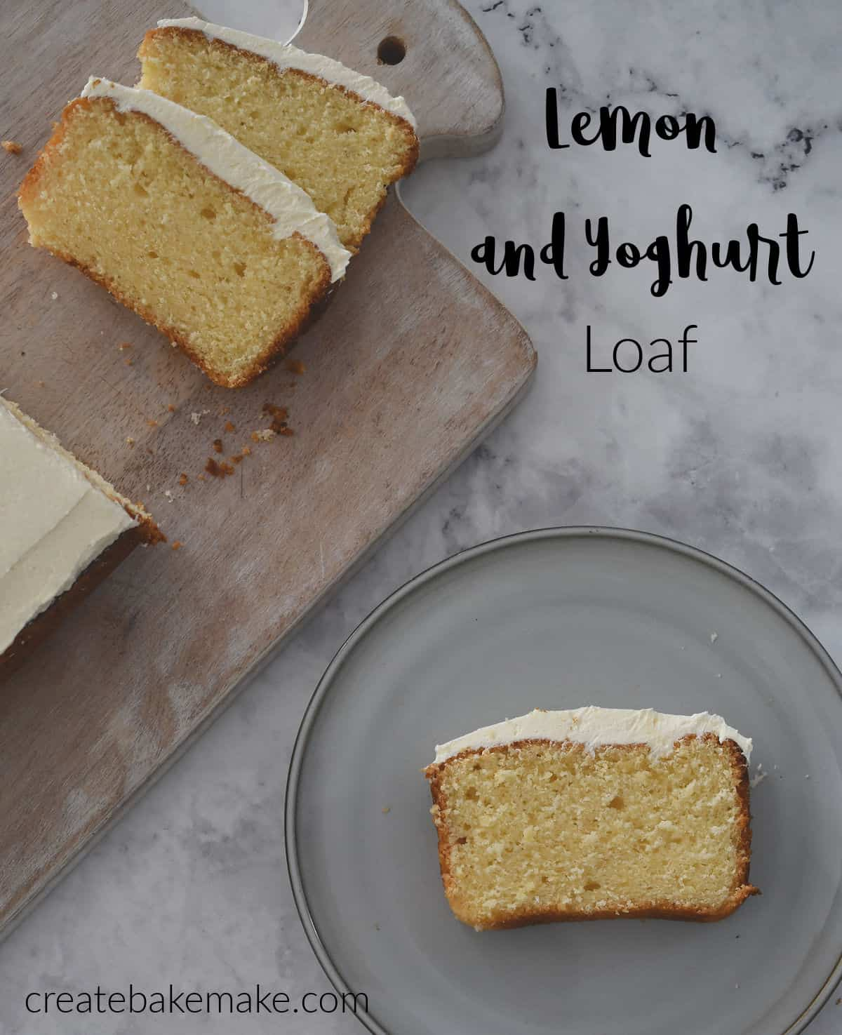Overhead view of Lemon and Yoghurt Loaf Sliced and on a plate.