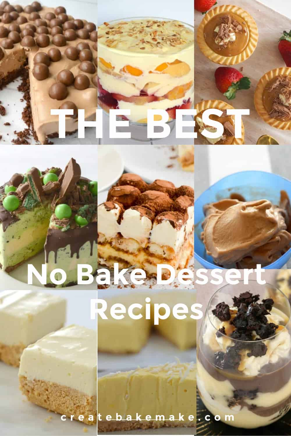Collage of No Bake Dessert Recipes