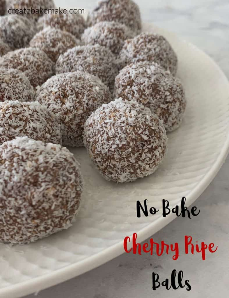Cherry Ripe Balls on a plate