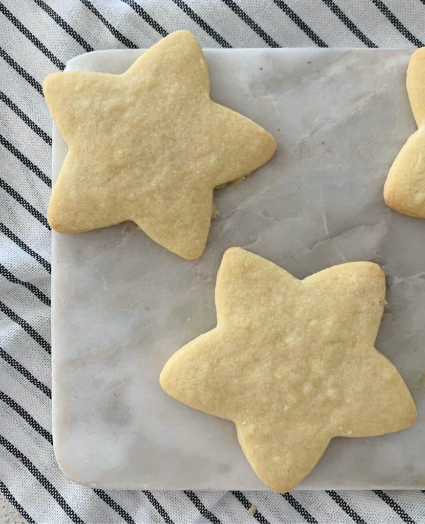 Shortbread Stars on a platter overhead view