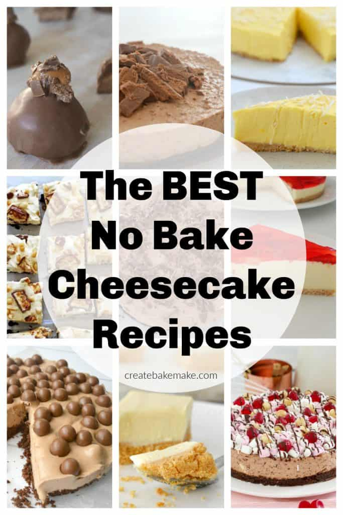 Collage of no bake cheesecakes