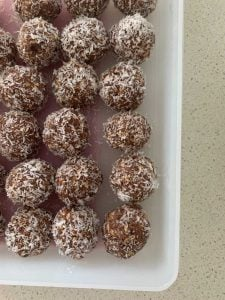 protein balls in a container