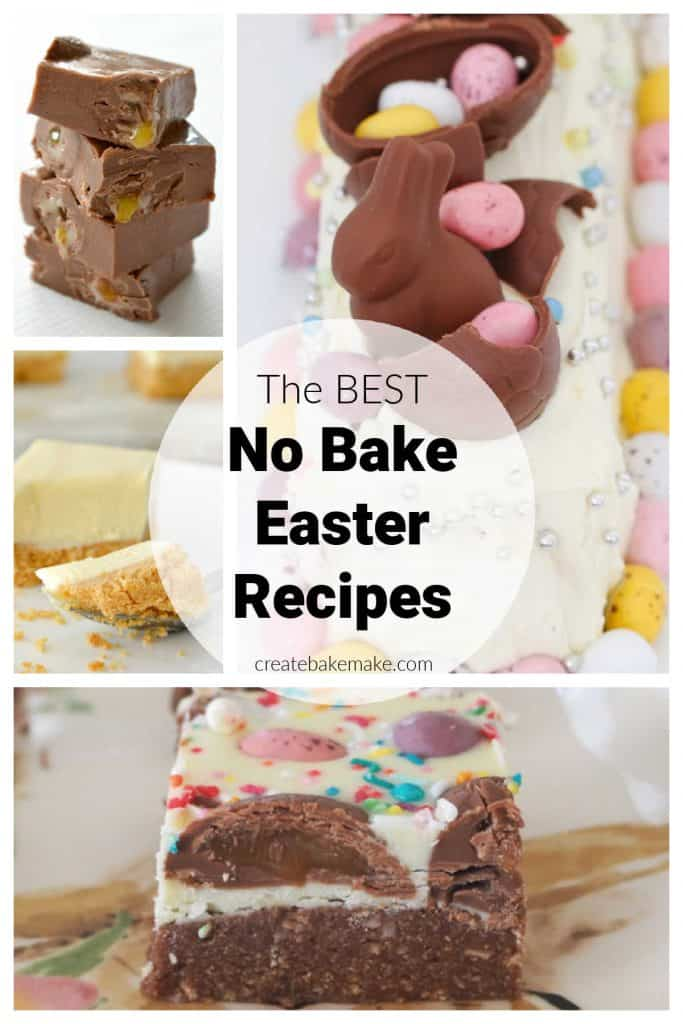 collage of no bake easter recipe images