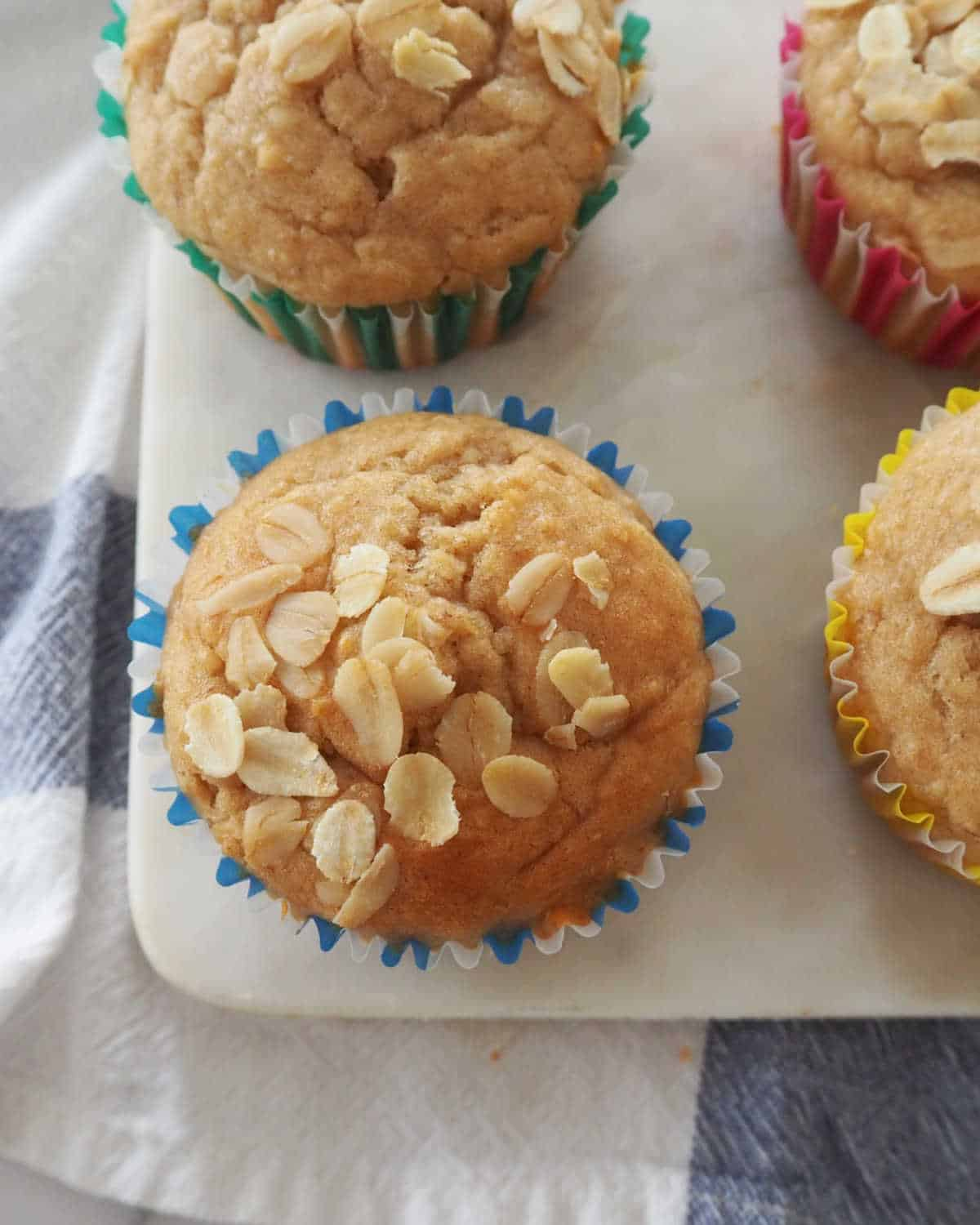 overhead view of Banana Oat Muffins on serving tray