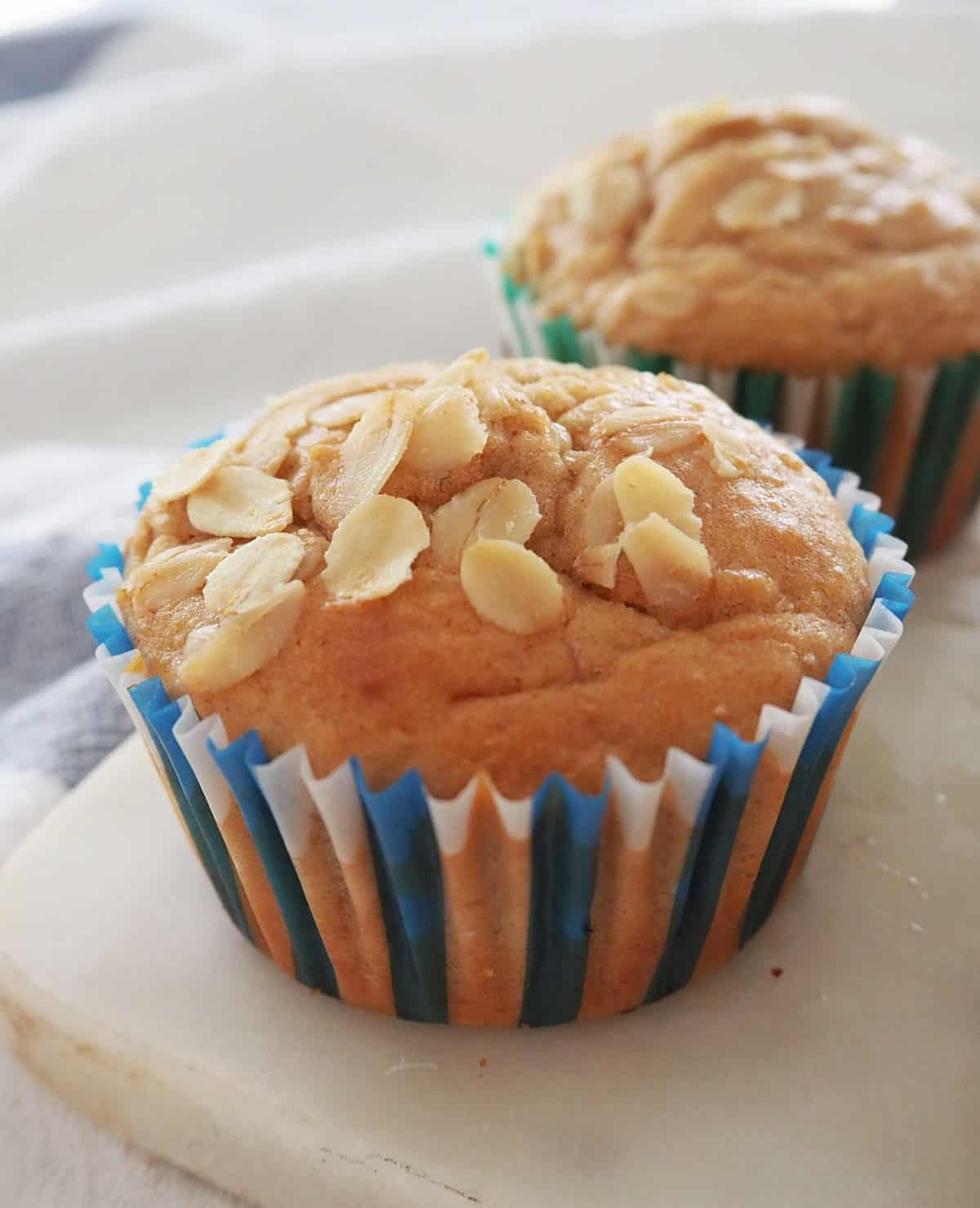 Banana Oat Muffins on serving tray