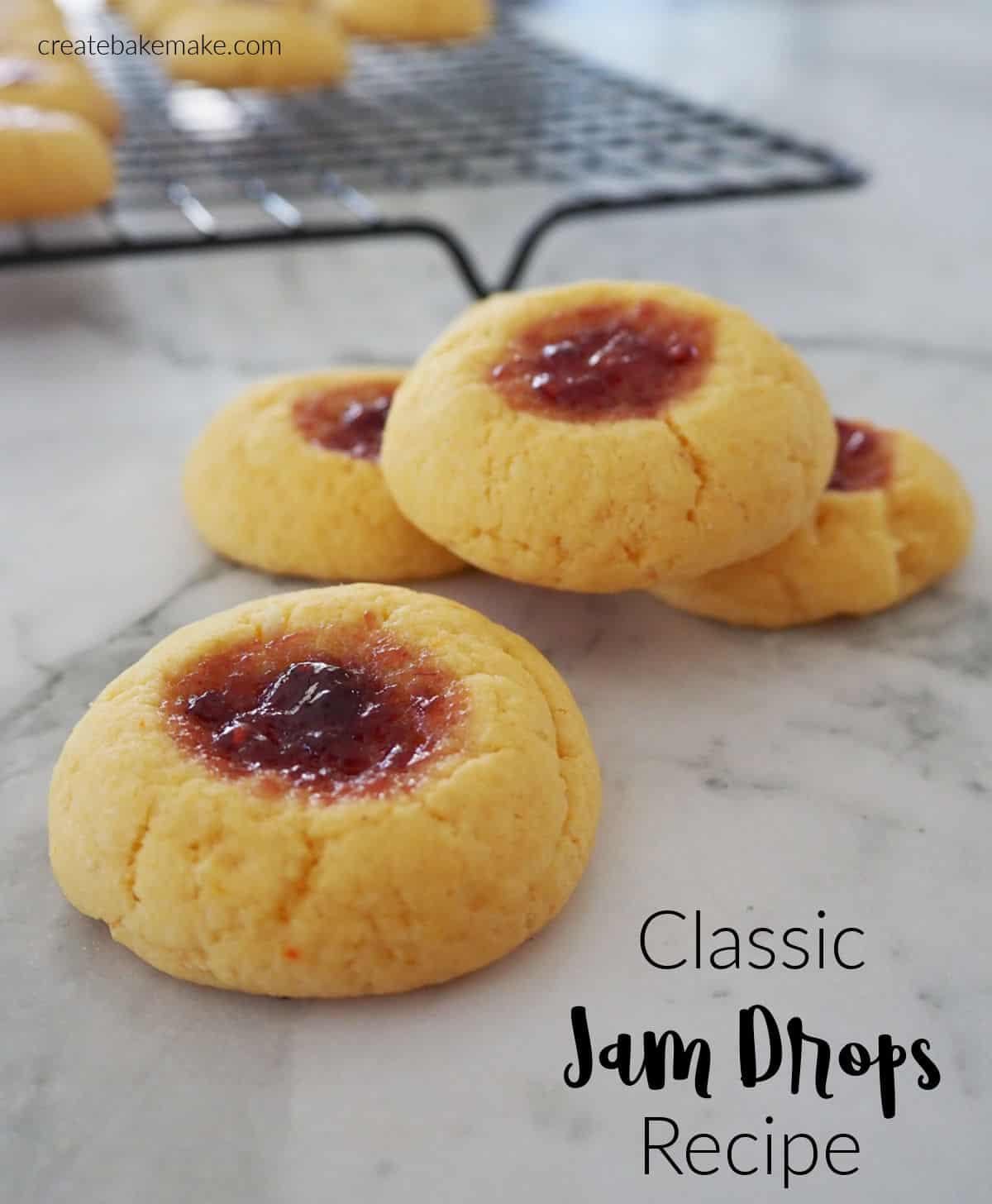 jam drop biscuits on marble benchtop