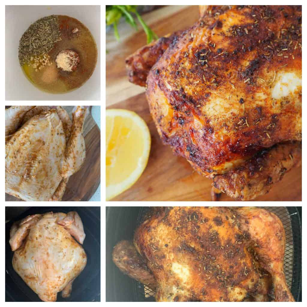 Images showing steps for making chicken in an air fryer