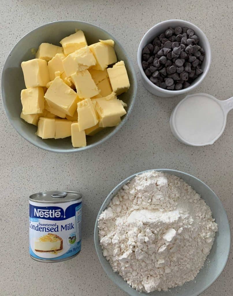 Ingredients to make condensed Milk cookies