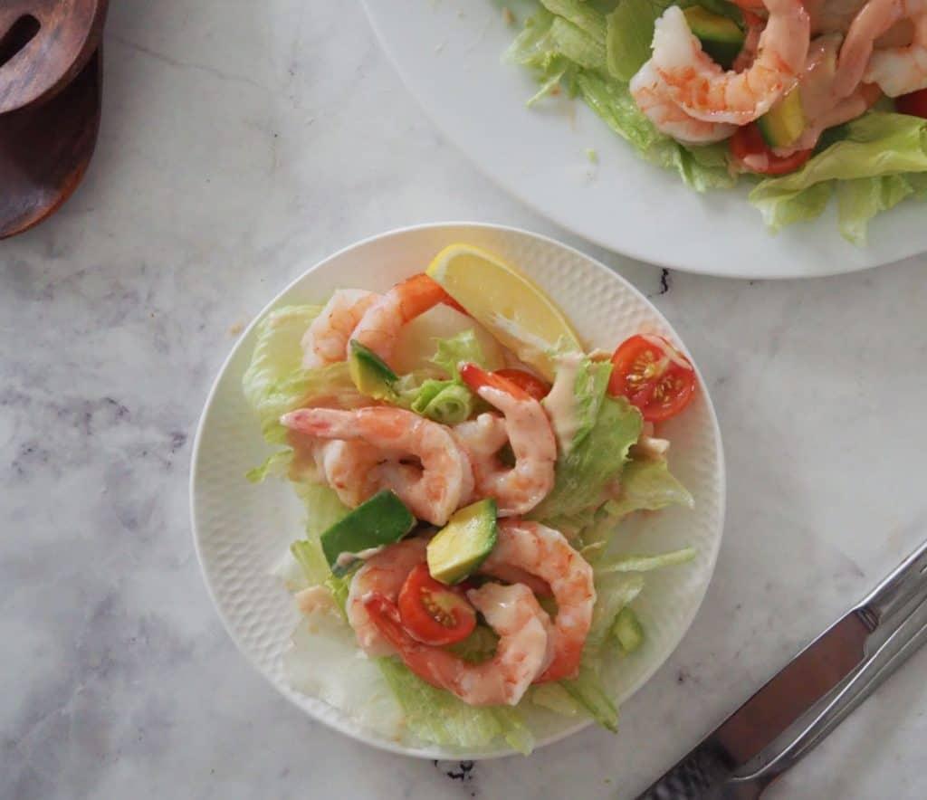 overhead of prawn salad