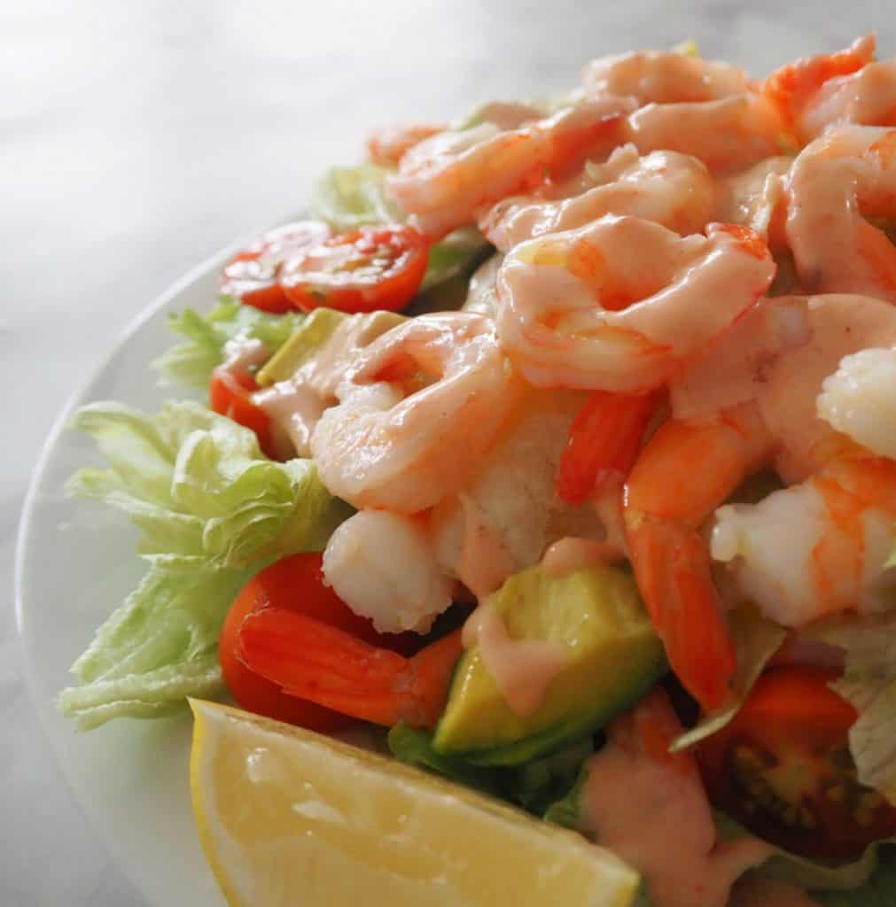 close up side view of prawn salad