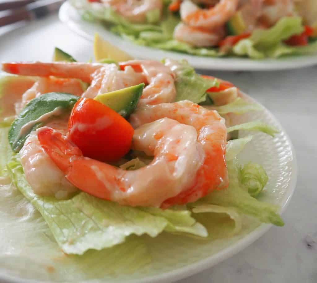 side plate with prawn salad