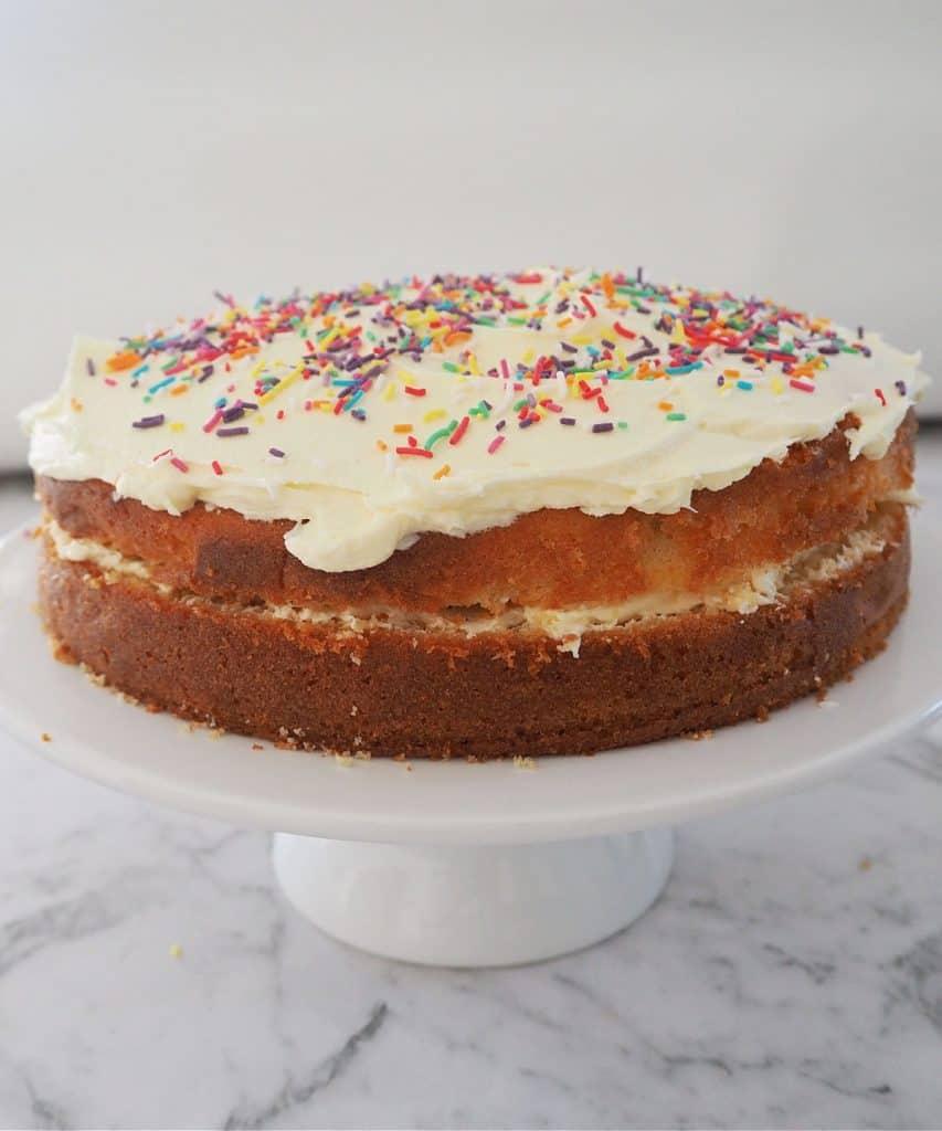 Vanilla Butter Cake on a white cake platter