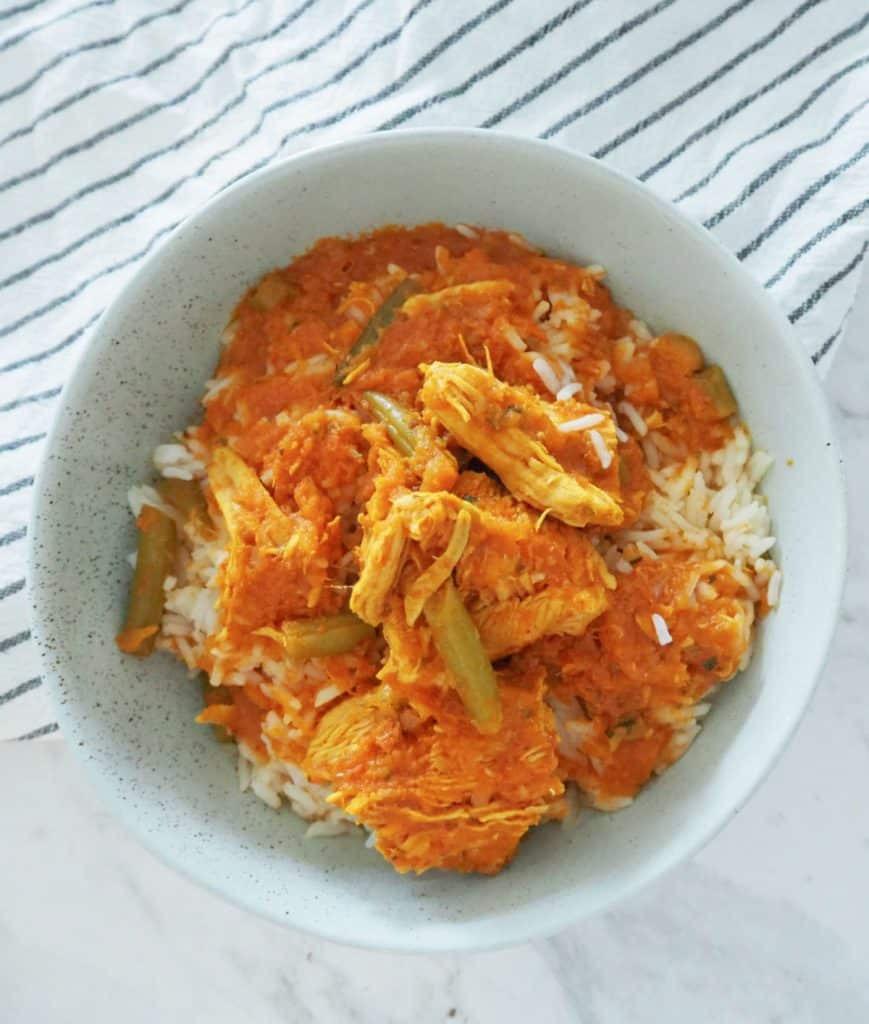 Chicken Curry in a green bowl
