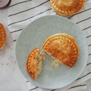 Creamy Chicken Pie cut in half on plate