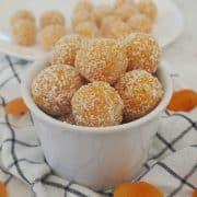 Apricot Bliss balls in a white bowl