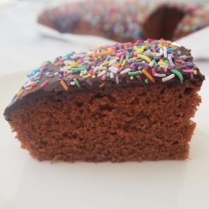 Side view of a slice of chocolate cake with chocolate icing and sprinkles