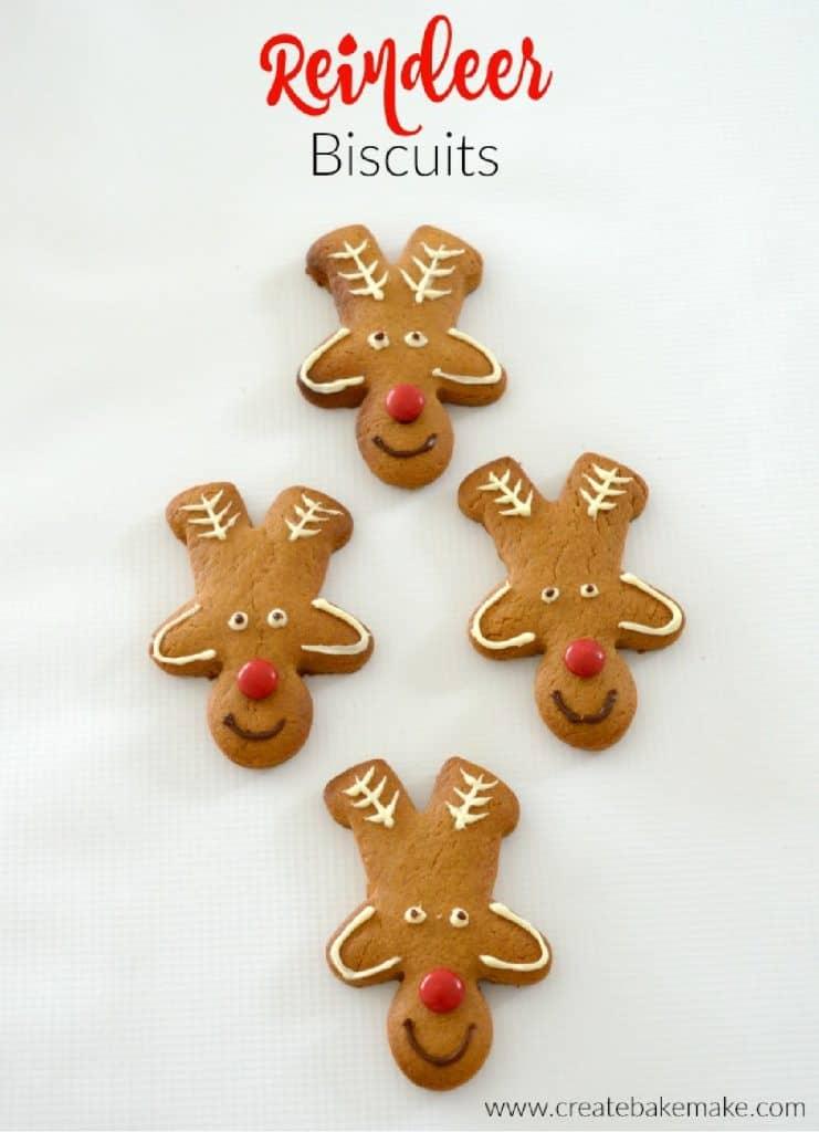 Overhead view of gingerbread reindeer biscuits
