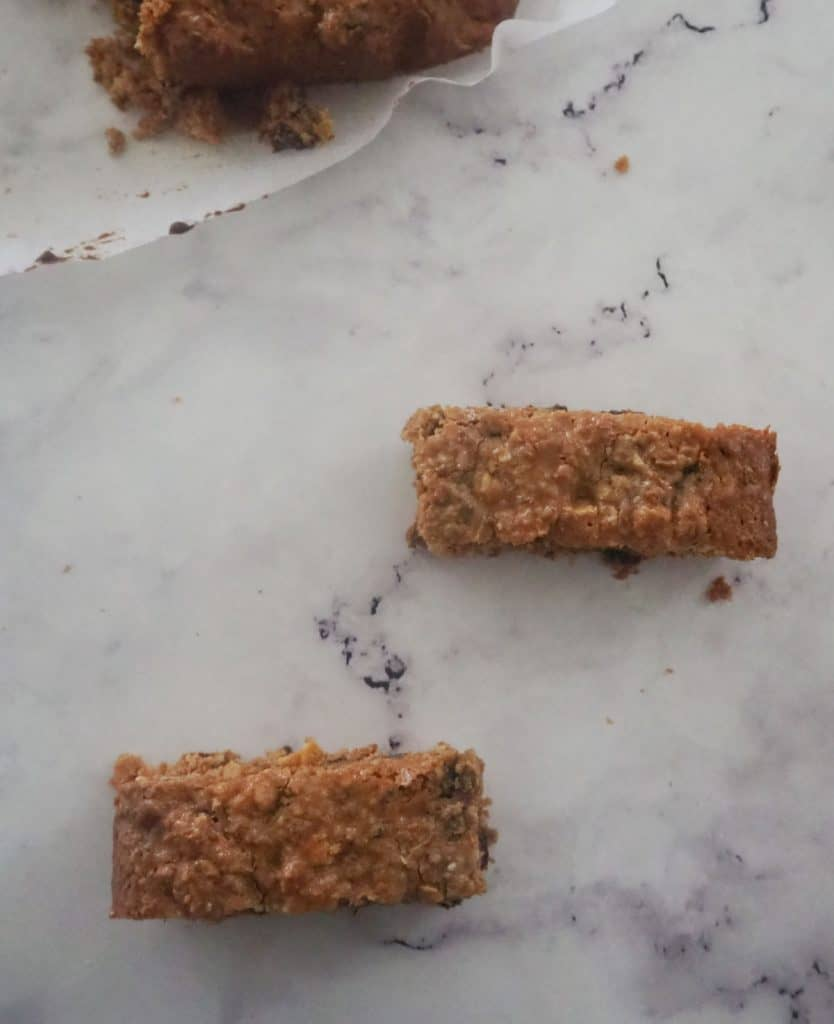 Overhead view of oat slice bars on marble top