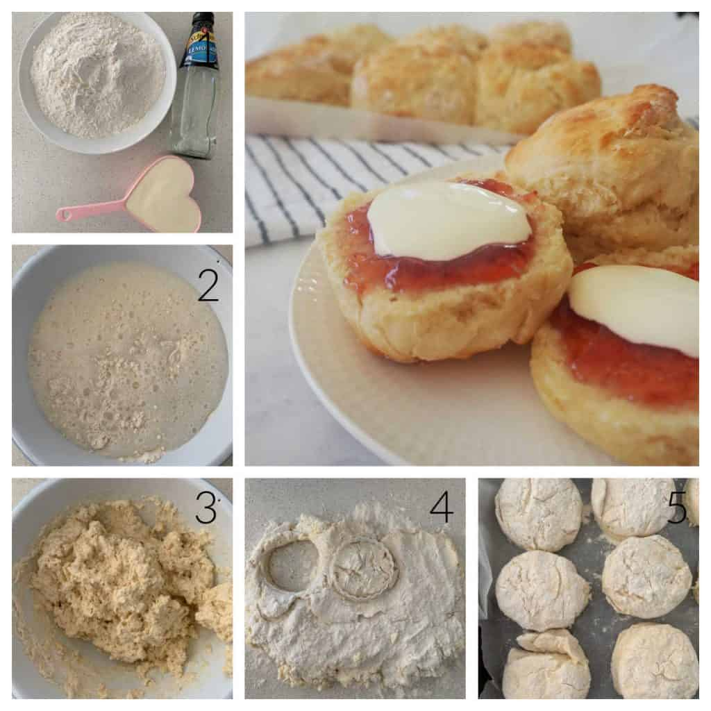 step by step instructions showing how to make 3 ingredient lemonade scones.