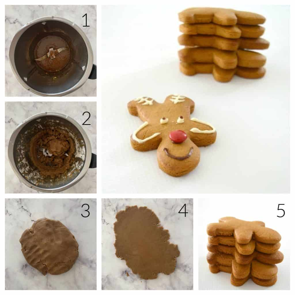 Step by Step images of how to make GIngerbread Reindeer Biscuits