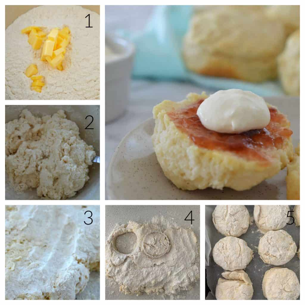 Step by step photos showing how to make 4 ingredient scones