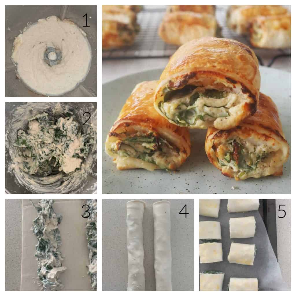 Collage of the 5 steps to make spinach and cheese rolls