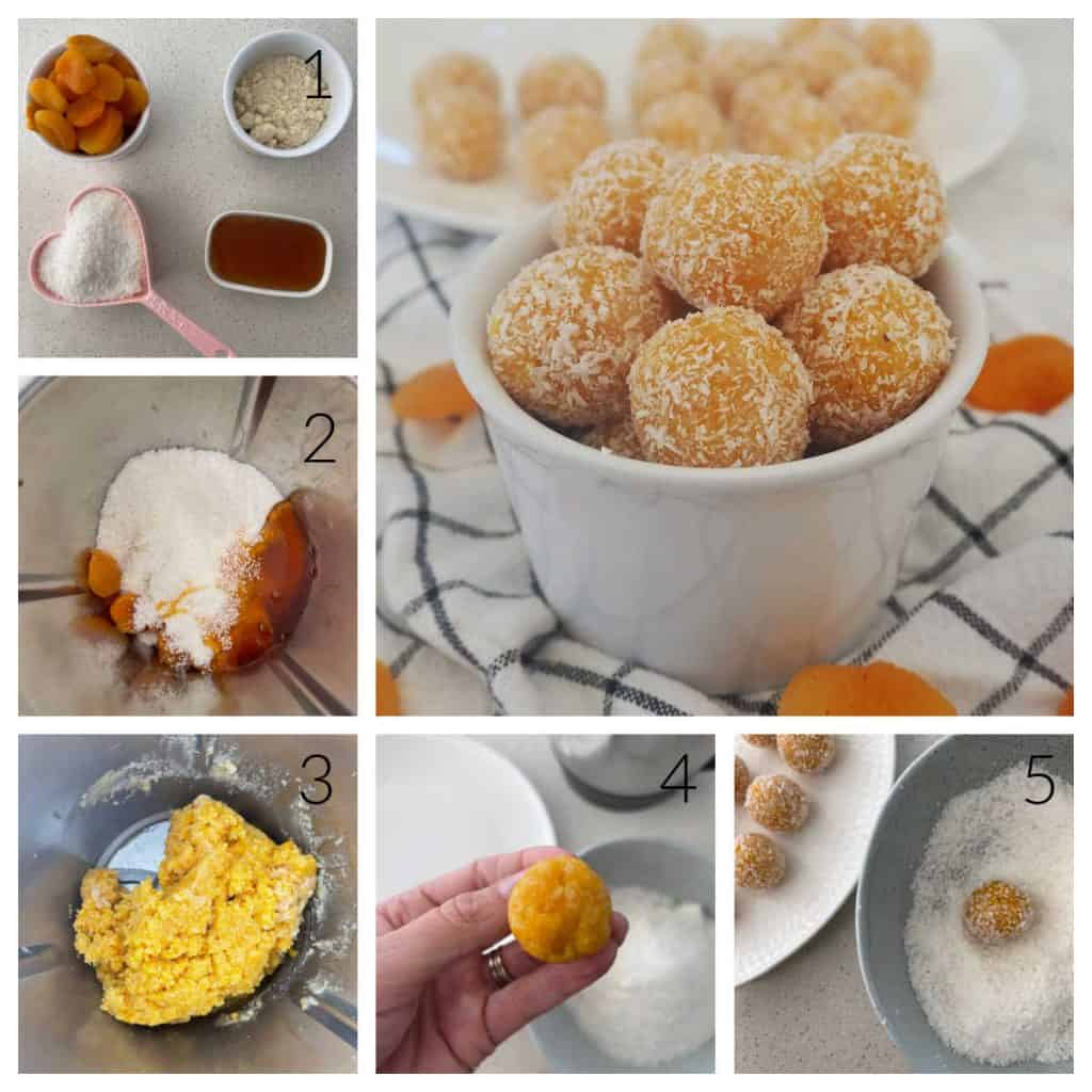 Step by step images of how to make Apricot Bliss Balls