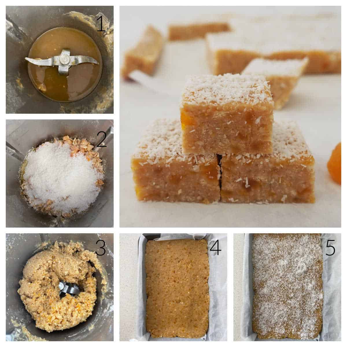 Collage of photos showing the steps to make apricot slice