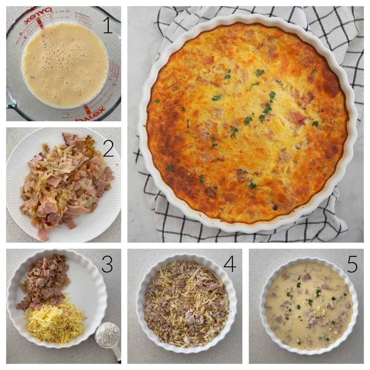 Collage showing the steps how to make an Egg and Bacon Impossible Pie