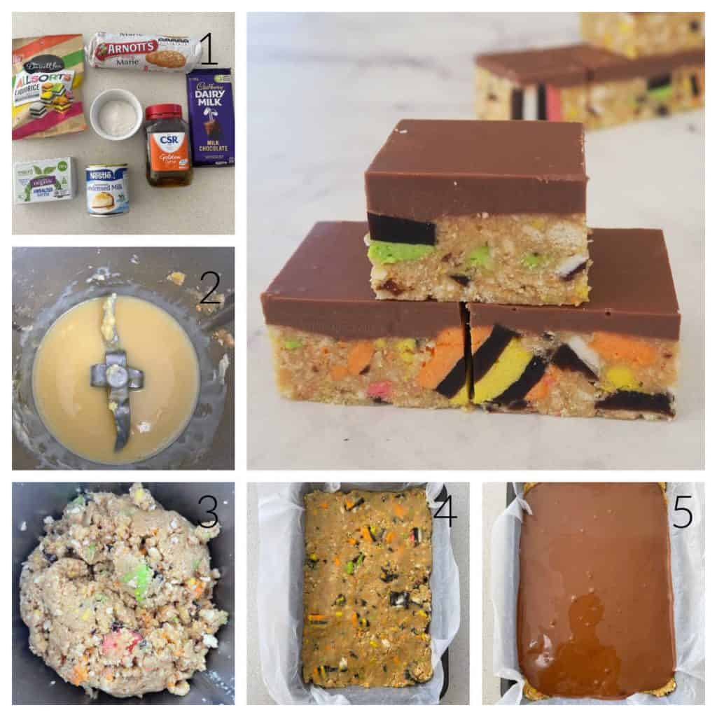 Collage of images showing how to make licorice allsort slice