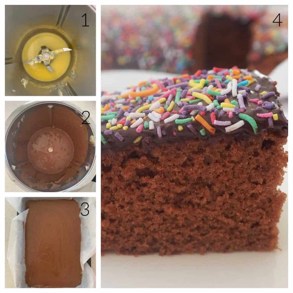 Collage showing images of how to make a chocolate cake
