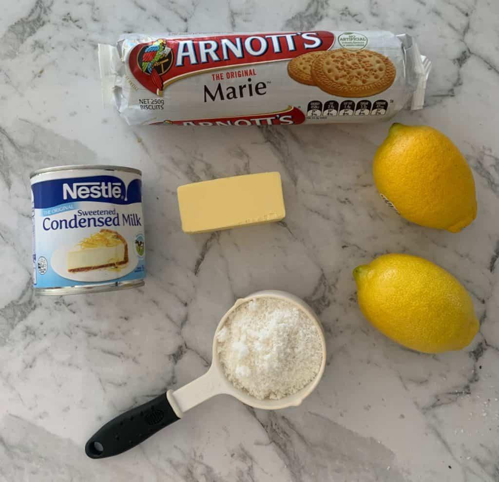 Ingredients for No Bake Lemon Slice