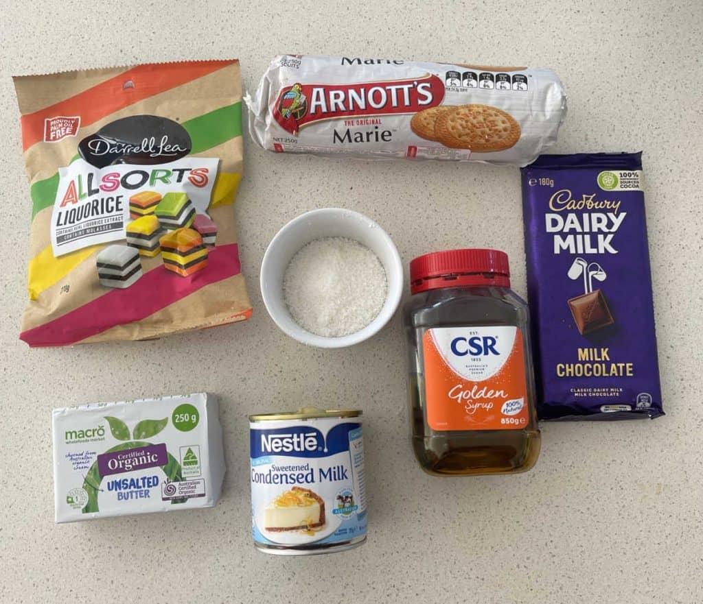 Ingredients needed to make Licorice Allsort Slice