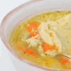 Chicken and Rice Soup in a grey bowl